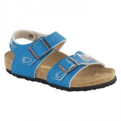 Sandales Birkenstock New York Garçon bleu clair-beige