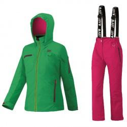 Conjunto esquí Astrolabio JP9U Niña verde-rosa