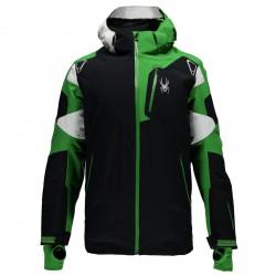 Chaqueta esquí Spyder Leader Hombre negro-verde