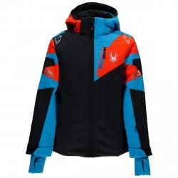 Chaqueta esquí Spyder Leader Chico negro-azul