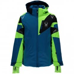Veste ski Spyder Leader Homme Garçon bleu-vert