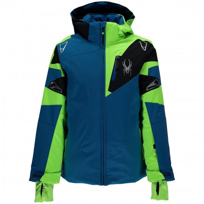 Giacca sci Spyder Leader Bambino blu-verde