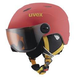 Casco sci Uvex Visor Pro + visiera rosso-nero-giallo