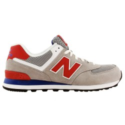 Sneakers New Balance 574 Homme gris-rouge