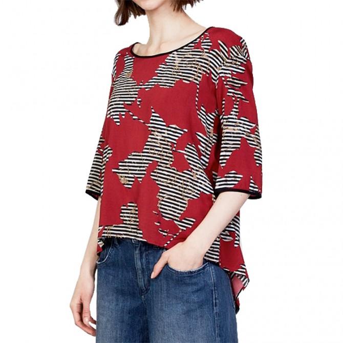 Camicia Manila Grace Scatoletta Donna nero-rosso MANILA GRACE Camicie