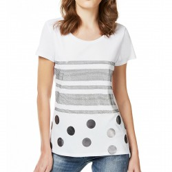 T-shirt Liu-Jo Black and White Shine Femme blanc