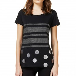 T-shirt Liu-Jo Black and White Shine Mujer negro