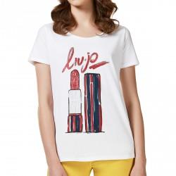 T-shirt Liu-Jo Hoop Donna bianco-rosso