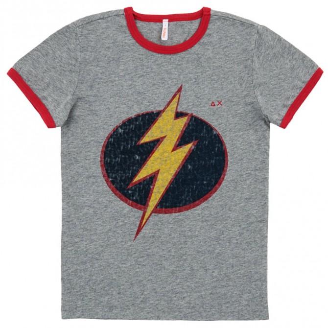 T-shirt Sun68 Hero grigio-blu-giallo