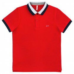 Polo Sun68 El. 3 Stripes Bambino rosso (8-10 anni)