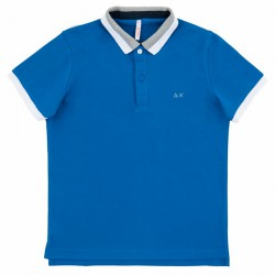 Polo Sun68 El. 3 Stripes Junior royal (8-10 years)