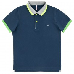 Polo Sun68 El. Big Stripes Fluo Junior navy (4-6 years)