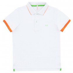 Polo Sun68 El. Small Stripes Fluo Junior white (12-14 years)