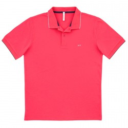 Polo Sun68 El. Small Stripe Homme fuchsia