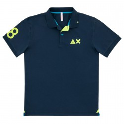 Polo Sun68 El. 68 Patch Fluo Homme navy