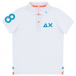 Polo Sun68 Patch fluo bianco