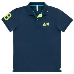 Polo Sun68 El. 68 Patch Fluo Junior navy (16 years)