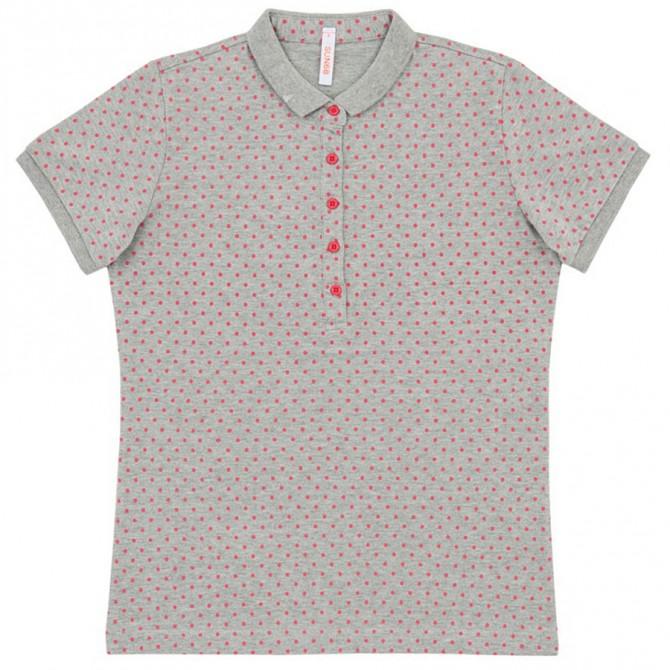 Polo Sun68 Full pois grigio chiaro-rosa