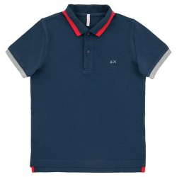 Polo Sun68 Big stripes navy-grigio