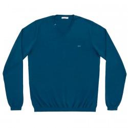 Suéter Sun68 Solid V Neck Hombre azul