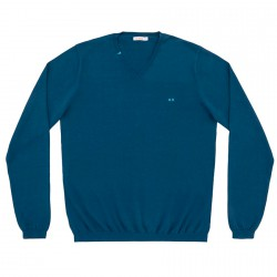 Sweater Sun68 Solid V Neck Man blue