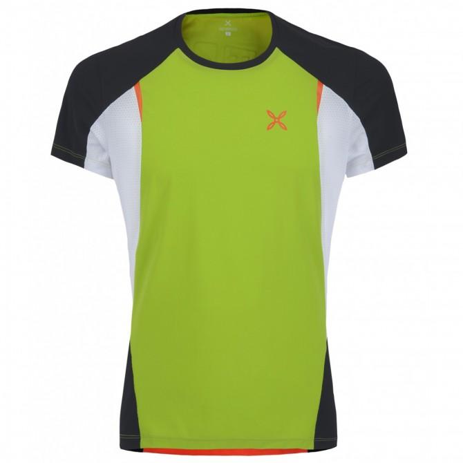 T-shirt running Montura Fast verde acido-arancio