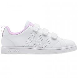 Sneakers Adidas Advantage Clean Bambina bianco-rosa