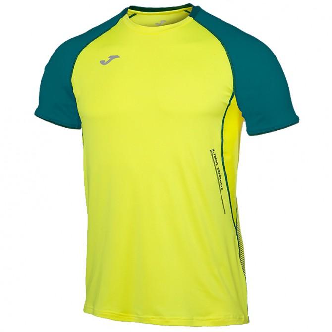 T-shirt running Joma Olimpia Flash giallo fluo-petrolio