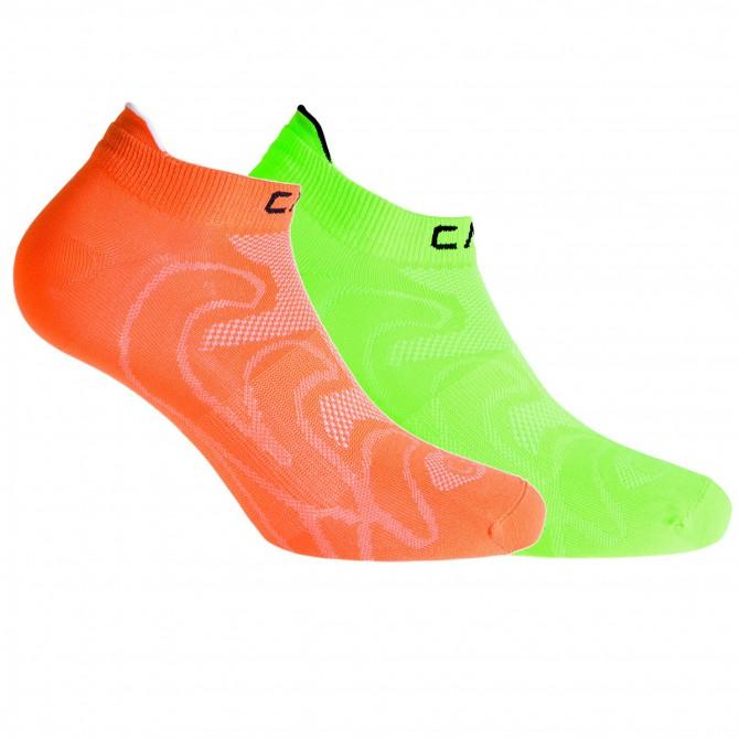 Calze fitness Cmp arancio fluo-verde fluo