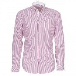 Camisa Canottieri Portofino Hombre rayas blanco-rosa