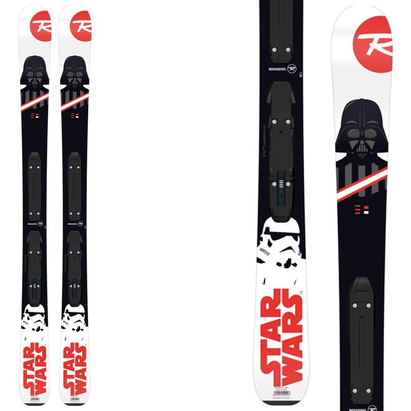 Sci Rossignol Star Wars + attacchi Kid-X 4 B76 (Colore: bianco-nero, Taglia: 128)