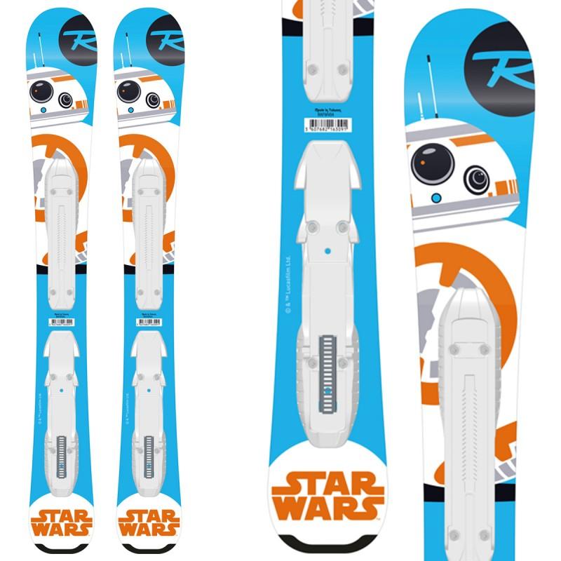 Sci Rossignol Star Wars Baby + attacchi Kid-X 4 B76 (Colore: azzurro-bianco-arancio, Taglia: 70)