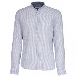 Camisa Canottieri Portofino cuello Mao Hombre blanco-azul