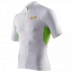 T-shirt ciclisme X-bionic The Trick Homme blanc-lime