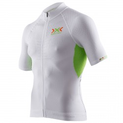 T-shirt ciclismo X-bionic The Trick Uomo bianco-lime