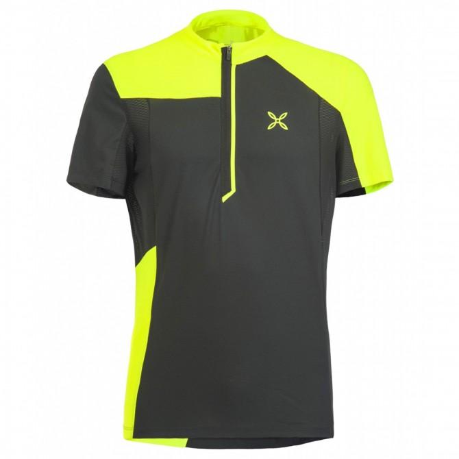 T-shirt ciclismo Montura Selce Zip Uomo nero-giallo