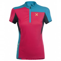 T-shirt ciclismo Montura Selce Zip Mujer fucsia