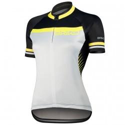 Maillot cyclisme Briko Ardente Femme blanc-jaune