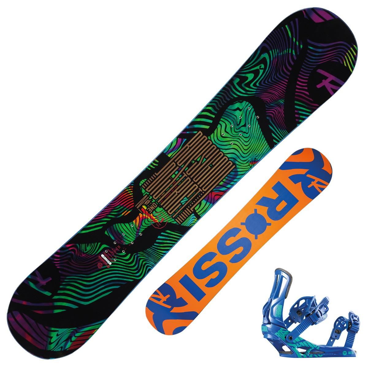 Snowboard Rossignol District Wide + attacchi Battle Color XL (Colore: nero fantasia, Taglia: 146)