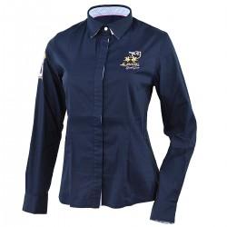 camisa La Martina mujer blu con bordado