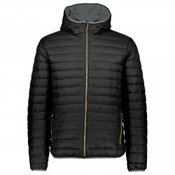 Hooded down jacket Cmp Man black-yellow