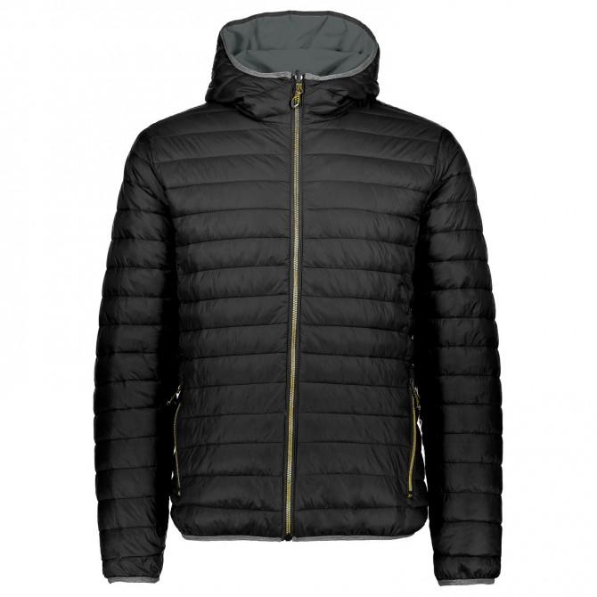Hooded down jacket Cmp Man black-yellow