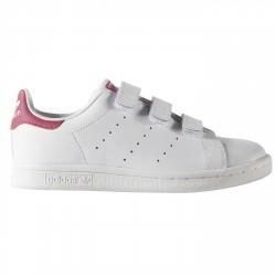 Sneakers Adidas Stan Smith Girl avec velcro blanc-rose