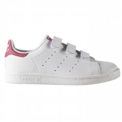 Sneakers Adidas Stan Smith Girl con velcro bianco-rosa