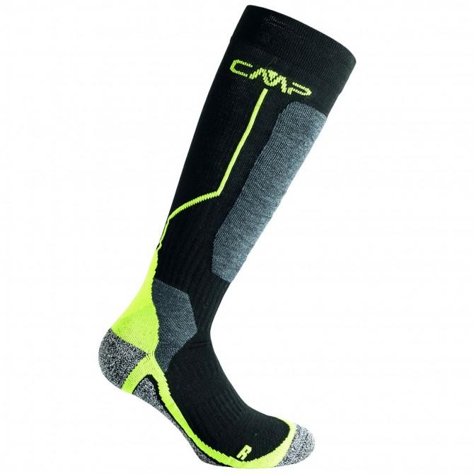 Ski socks Cmp Wool Junior black-yellow