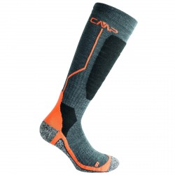 Ski socks Cmp Wool Junior grey-orange