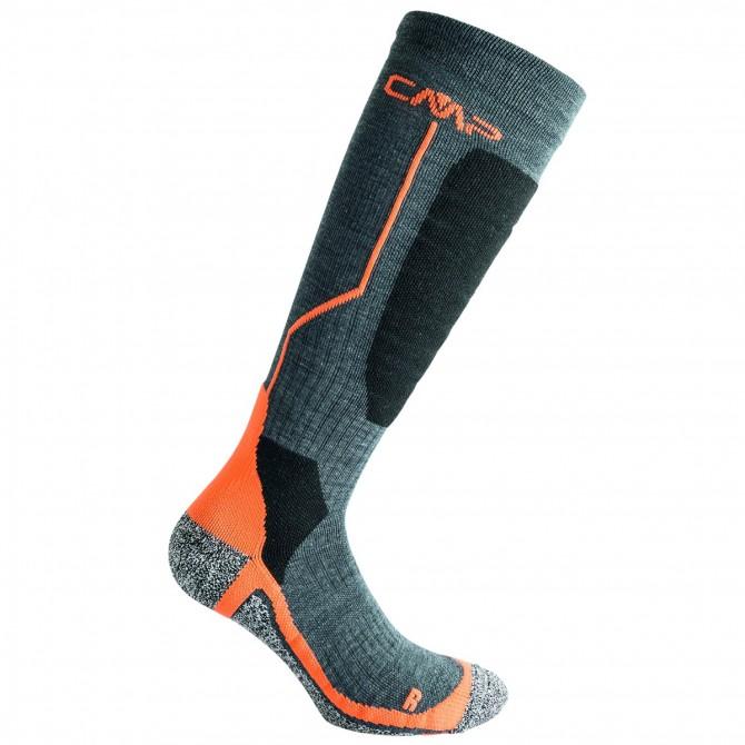 Ski socks Cmp Wool Junior grey-orange