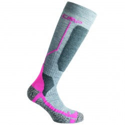 Ski socks Cmp Wool Girl grey-fuchsia