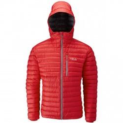 Chaqueta de pluma montañismo Rab Microlight Hombre rojo