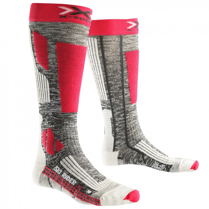 Calcetines esquí X-Bionic Rider 2.0 Mujer gris-fucsia